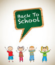 Back to school background with childrens vector illustration Royalty Free Stock Image
