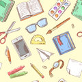 Back to School Background. Education Hand Drawn Seamless Pattern with Books, Notebook and Pen