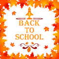 Back to school background with frame of leaves, text, design elements