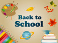 Back to school background with with pencils, backpack, book, planet, planet, graduate cap and text