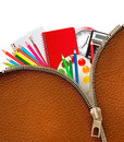 Back to school background with school supplies and zipper vector Royalty Free Stock Image