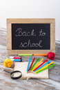 Back to school background with special school supplies, end of h