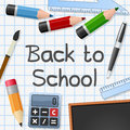 Back to school background with supplies on a sheet empty space for your text eps file available Stock Photography