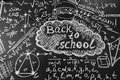 Back to school background with title Back to school and formulas written by chalk on the chalkboard