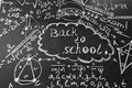 Back to school background with title Back to school and formulas written by white chalk on the chalkboard Royalty Free Stock Photo