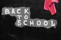 Back to school background with title `Back to school` written by white chalk on the black chalkboard and rag for erasing Royalty Free Stock Photo