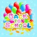 Back to school with balls and autumn leaves this is file of eps format Royalty Free Stock Photo