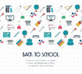 Back to school banner, background, concept with seamless border. Flat design. Vector Royalty Free Stock Photo