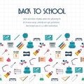 Back to school banner, background, poster, concept with seamless border. Flat design. Vector Royalty Free Stock Photo