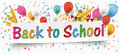 Back to School Banner Balloons Buntings Letters Pencils
