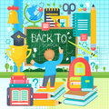 Back To School Banner with boy drawing on the Chalkboard. Vector Flat Illustration. School Education Concept. Vector
