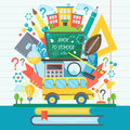 Back To School Banner with bus and flat icon set on Chalkboard. Vector Flat Illustration. School Education Concept Royalty Free Stock Photo