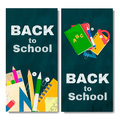 Back to school banner. Chalk board with text and school tools