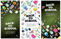Back To School Banner Set with School Supplies. Vector Illustrat Royalty Free Stock Photo