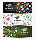 Back To School Banner Set with School Supplies. Royalty Free Stock Photo