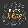 Back to school banner template with hand drawn school supplies icons on blackboard