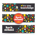 Back to school banners set vector illustration eps contains transparencies Stock Photos