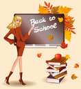 Back to school. Beautiful schoolteacher Stock Image