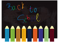 Back to school bg colorful pencils with the words Stock Photography