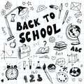 Back to school big doodles set hand drawn illustrations Royalty Free Stock Photo