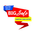 Back to school big sale paper banner. Vector illustration. Royalty Free Stock Photo