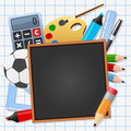 Back to school black blackboard a chalkboard surrounded by supplies on a sheet background empty space for your text eps file Royalty Free Stock Photo