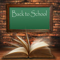 Back to school blackboard on brick wall Royalty Free Stock Photography