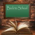 Back to school blackboard on brick wall