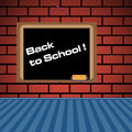 Back to school blackboard on a brick wall and the text written with white letters Royalty Free Stock Photos