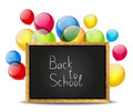 Back to school blackboard with color balloons Royalty Free Stock Photography
