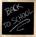 Back to school on blackboard handwritten with white chalk in wood frame isolated white background Stock Photos