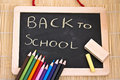 Back to school blackboard and pencils Stock Photos