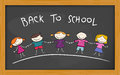 Back to school board blackboard with an illustration of cheerful kids Royalty Free Stock Photography