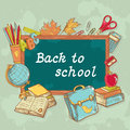 Back to school board card in cartoon hand drawn st with various study items style Royalty Free Stock Photos