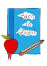 Back to school books with apple and pencil Royalty Free Stock Images