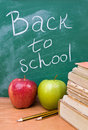 Back to school with books, apples and pencils Royalty Free Stock Photography