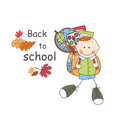 Back to school boy with bag goes colorful illustration and text Royalty Free Stock Photo