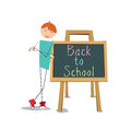 Back to school boy with a board on white background Royalty Free Stock Image