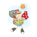 Back to school boy with flowers goes colorful illustration Stock Image