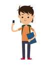 Back to school boy student book bag and mobile phone Royalty Free Stock Photo