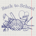 Back to school with brain stationery Royalty Free Stock Photo