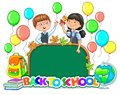 Back to school bright sign School board blank Cute children with