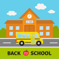 Back to school. Building with clock and windows. City construction. Royalty Free Stock Photo