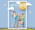 Back to school card with boy, books and sun Royalty Free Stock Photo