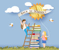 Back to school card with kids, books and sun