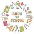 Back to school. Card with lettering and set of school element in doodle and cartoon style. Stationery.