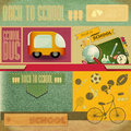 Back to school card retro design board sport icons and supplies on vintage background illustration Royalty Free Stock Photo