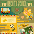 Back to school card retro design board and supplies on vintage background illustration Stock Photos