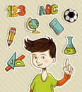 Back to School cartoon kid Royalty Free Stock Photos
