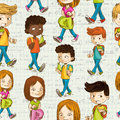 Back to school cartoon kids education seamless pattern colorful background vector layered for easy personalization Royalty Free Stock Photography